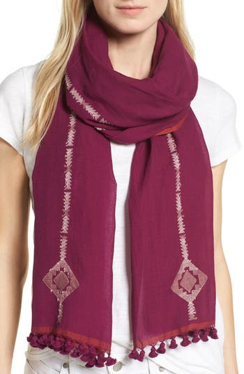 Women's Eileen Fisher Embroidered Oraganic Cotton Scarf