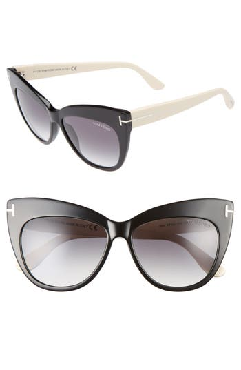 Tom Ford Nika 5m Gradient Cat Eye Sunglasses - Shiny Black/ Gradient Smoke