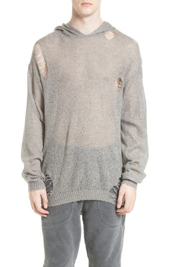 Drifter Odin Destroyed Hoodie Sweater, Grey
