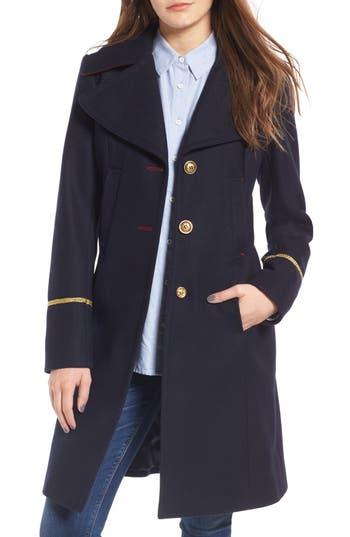 Women's Sam Edelman Wool Blend A-Line Military Coat, Size 2 - Blue
