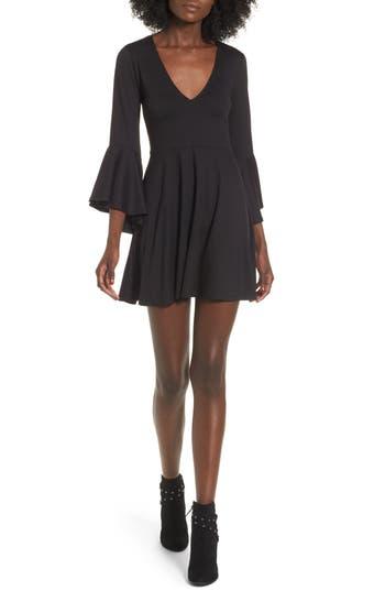 Socialite Bell Sleeve Knit Dress, Black