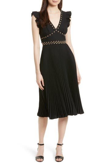 Kate Spade New York Studded Pleat Fit & Flare Dress
