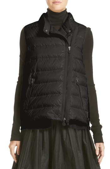 Moncler Jane Mixed Media Down Puffer Vest, Black