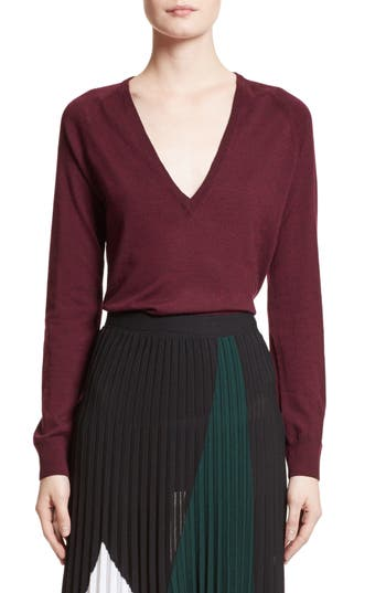 Proenza Schouler Plunging V-Neck Merino Wool Sweater, Burgundy