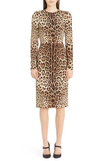 Dolce & gabbana Leopard Print Stretch Silk Sheath Dress, 8 IT - Brown