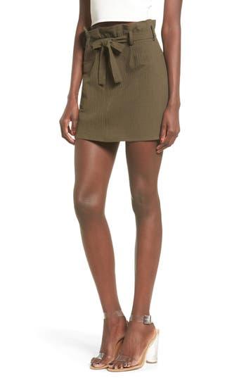 June & Hudson Paperbag Miniskirt, Green