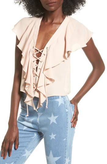 Women's Show Me Your Mumu Lace-Up Blouse, Size X-Small - Pink