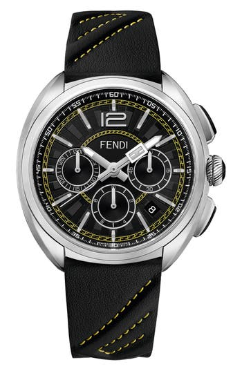 Men's Fendi Momento Chronograph Leather Strap Watch, 46Mm