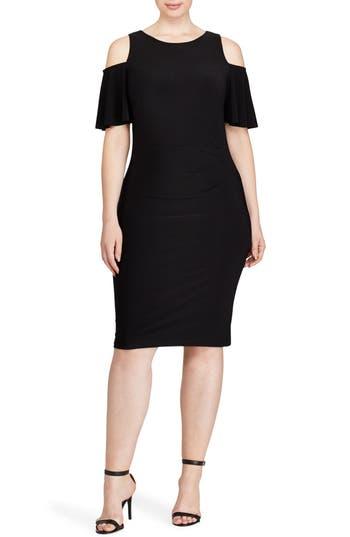 Plus Size Lauren Ralph Lauren Cold Shoulder Sheath Dress, Black