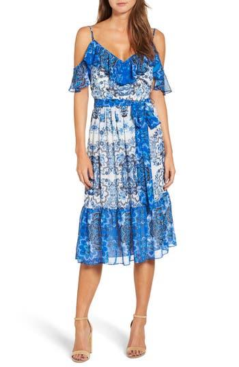 Eliza J Cold Shoulder Dress, Blue