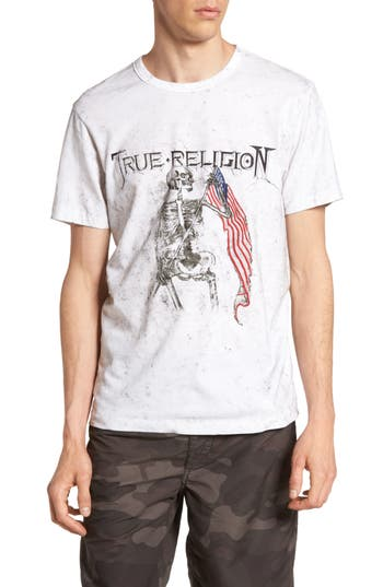 True Religion Brand Jeans 4Th Flag Embroidered Graphic T-Shirt, White