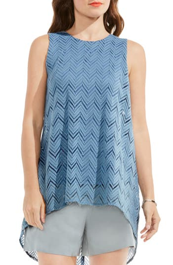 Women's Vince Camuto High/low Herringbone Lace Blouse, Size XX-Small - Blue