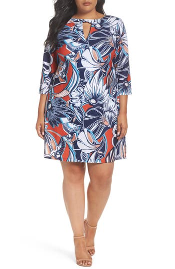 Plus Size Eci Floral A-Line Shift Dress, Red