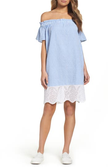 French Connection Belle Stripe Shift Dress, Blue