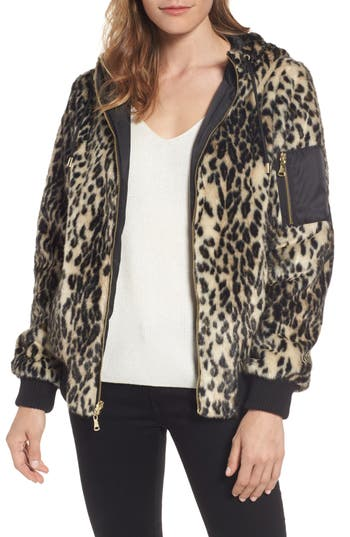 Women's Vince Camuto Reversible Hooded Faux Fur Bomber Jacket