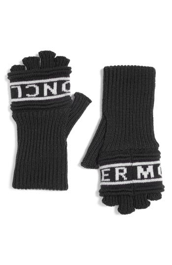 Moncler Guanti Wool Long Fingerless Gloves, Black