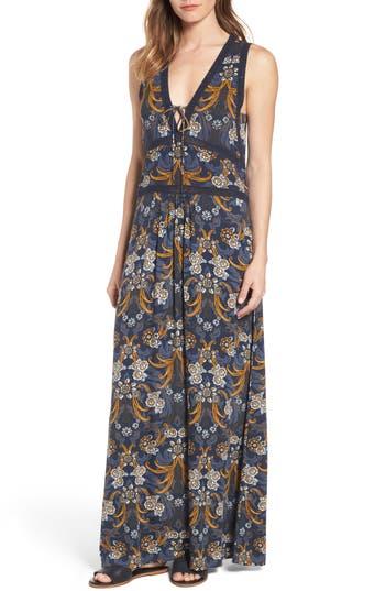 Hinge Lace-Up Maxi Dress, Blue