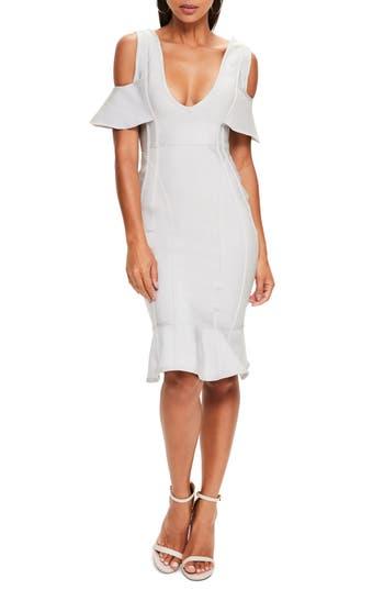 Missguided Cold Shoulder Bandage Dress, US / 4 UK - Grey