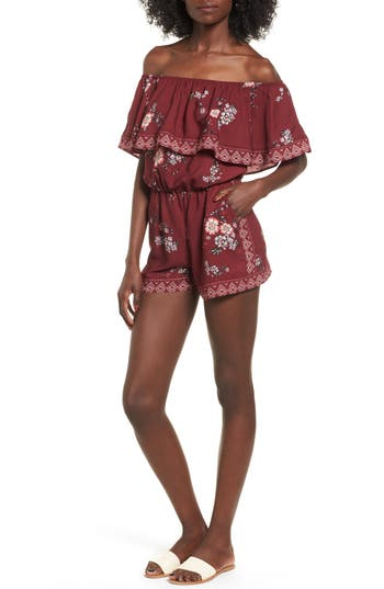 Women's Socialite Ruffle Off The Shoulder Romper, Size X-Small - Burgundy