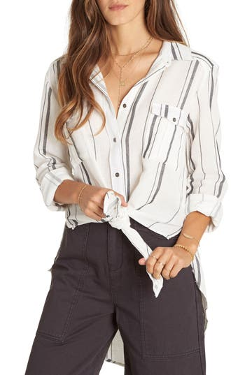 Billabong Meadow Swing Tie Front Shirt, White