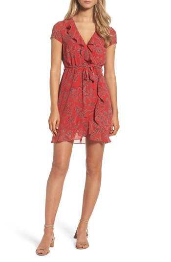 Women's Bardot Bandana Print Wrap Dress, Size X-Small - Orange