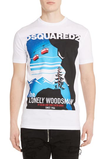 Dsquared2 Lonely Woodsman Graphic T-Shirt, White