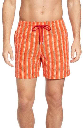 Vilebrequin Moorea V-Fish Print Swim Trunks, Orange