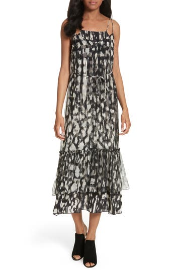 Tracy Reese Double Layer Silk Slipdress, Black