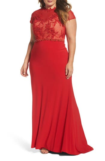 Plus Size MAC Duggal Embellished Crochet & Jersey Gown