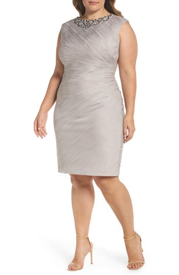 Plus Size Eliza J Embellished Neckline Sheath Dress, Beige