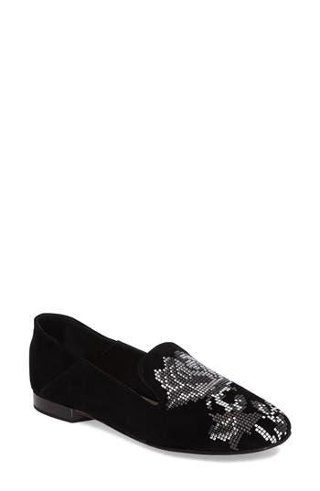 Women's Donald J Pliner Hiro Embellished Loafer, Size 5 M - Black