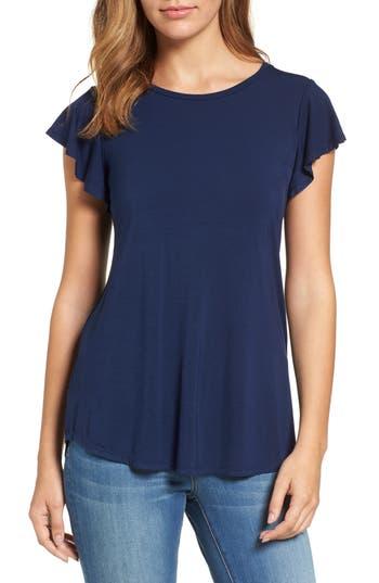 Women's Bobeau Flutter Sleeve Tee, Size X-Small - Blue