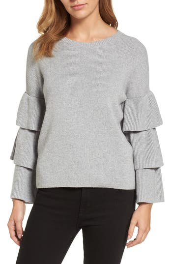 Petite Women's Halogen Ruffle Sleeve Sweater