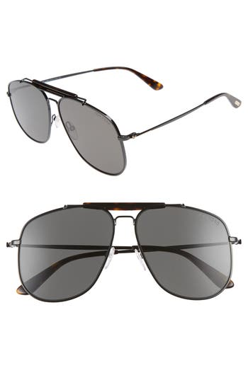 Tom Ford Connor 5m Aviator Sunglasses - Shiny Black/ Smoke