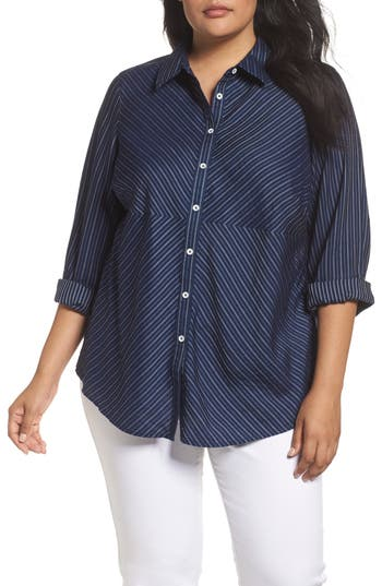 Plus Size Foxcroft Hazel Pinstripe Shirt, Blue