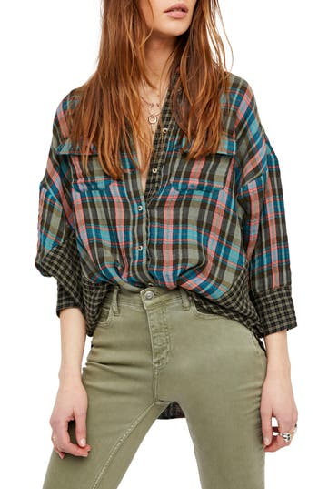 Free People One Of The Guys Plaid Shirt, Green