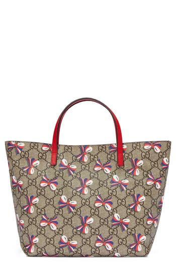 Girls Gucci Bow Print Canvas Tote