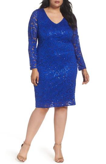 Plus Size Marina Lace Sheath Dress, Blue