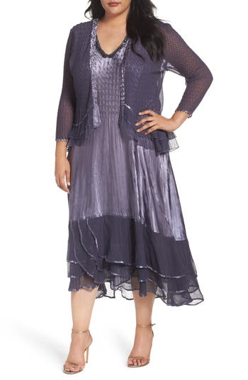 Plus Size Komarov Embellished Tiered Dress With Jacket, Purple