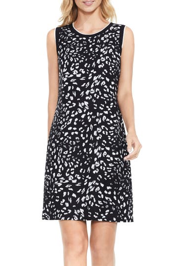 Vince Camuto Animal Whispers A-Line Dress, Black
