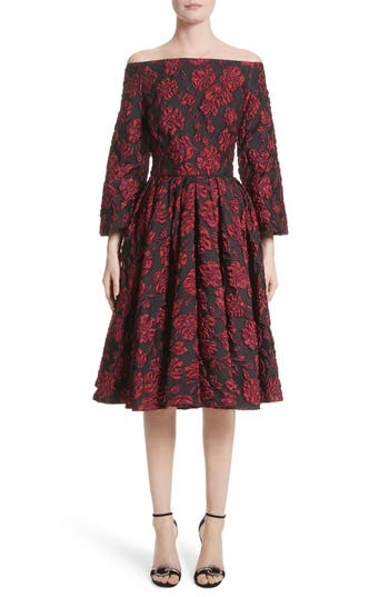Badgley Mischka Couture. Print Brocade Off The Shoulder Dress, Burgundy