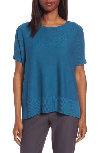 Eileen Fisher Tencel & Merino Wool Top, Blue/green