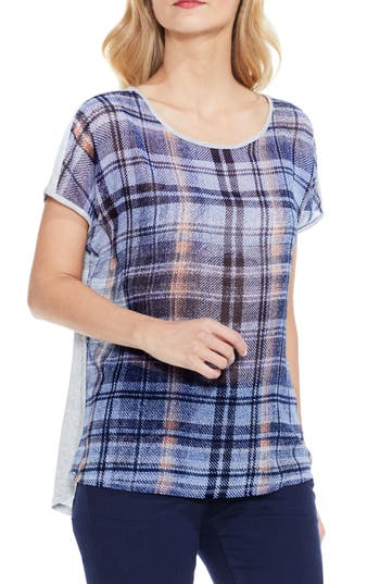 Two By Vince Camuto Plaid Front Tee, Grey