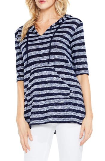 Two By Vince Camuto Uneven Stripe Hoodie, Blue