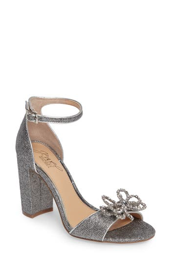 Jewel Badgley Mischka Lex Embellished Block Heel Sandal- Metallic