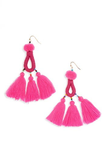 Women's Panacea Pompom Tassel Drop Earrings