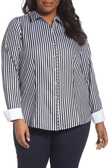 Plus Size Foxcroft Lauren Sateen Stripe Shirt, Black