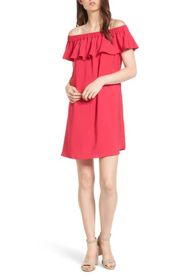 Chelsea28 Off The Shoulder Crepe Dress, Pink