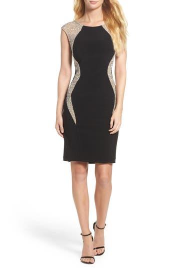 Xscape Beaded Jersey Body-Con Dress, Black