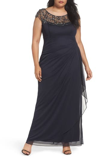 Plus Size Xscape Embellished Jersey Gown, Grey